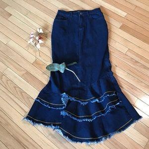 "Anthropologie High Waist Denim Flare Skirt 28"""